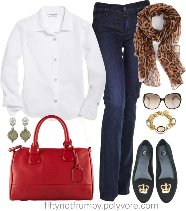 """Jeans and White Shirt"" by fiftynotfrumpy ❤ liked on Polyvore"