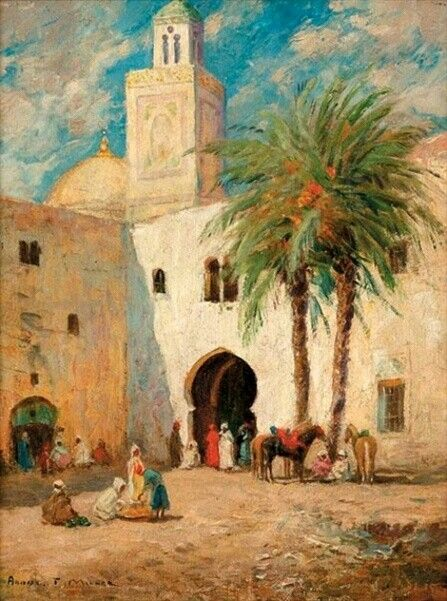 Algérie - Peintre Américain Addison Thomas Millar (1860 – 1913), huile sur toile , Titre : La tour de la mosquée