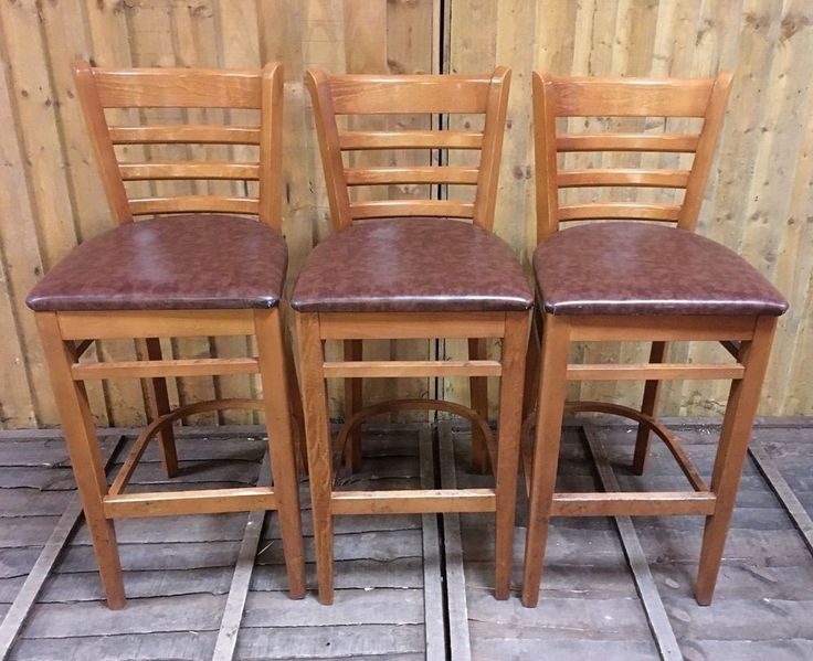 SET OF 3 SOLID  WOOD  BAR STOOLS / LIGHT WOOD / BROWN SEAT PADS / PUB  /  CLUB #Unbranded