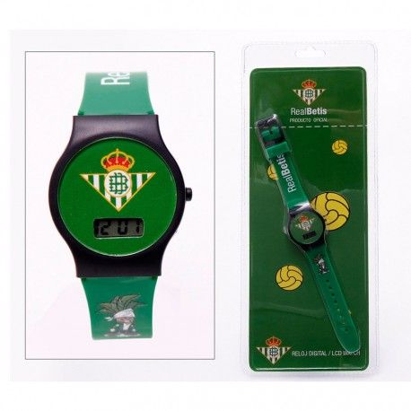 Reloj digital de pulsera del Real Betis. 5,39€. Descubre más #merchandising de fútbol oficial de tu equipo preferido.