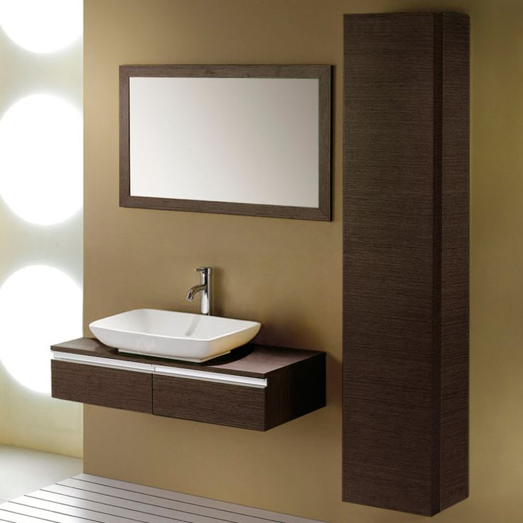 40 yannis wall hung vessel sink vanity with side and - Small bathroom sink cabinet ...