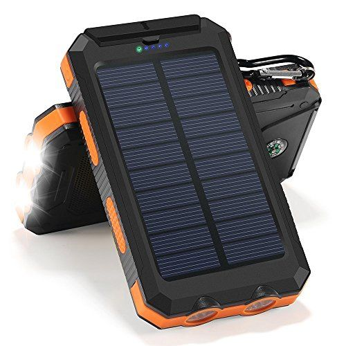 Solar Charger, 10000mAh Solar Power Bank Portable Battery Pack Cellphone Charger with 2 LED Flashlights, Solar Panel with Compass and Carabiner for IOS and Android Cellphones  https://topcellulardeals.com/product/solar-charger-10000mah-solar-power-bank-portable-battery-pack-cellphone-charger-with-2-led-flashlights-solar-panel-with-compass-and-carabiner-for-ios-and-android-cellphones/  1.10000mAh high-capacity. Solar energy technology, environmentally friendly and could rechar