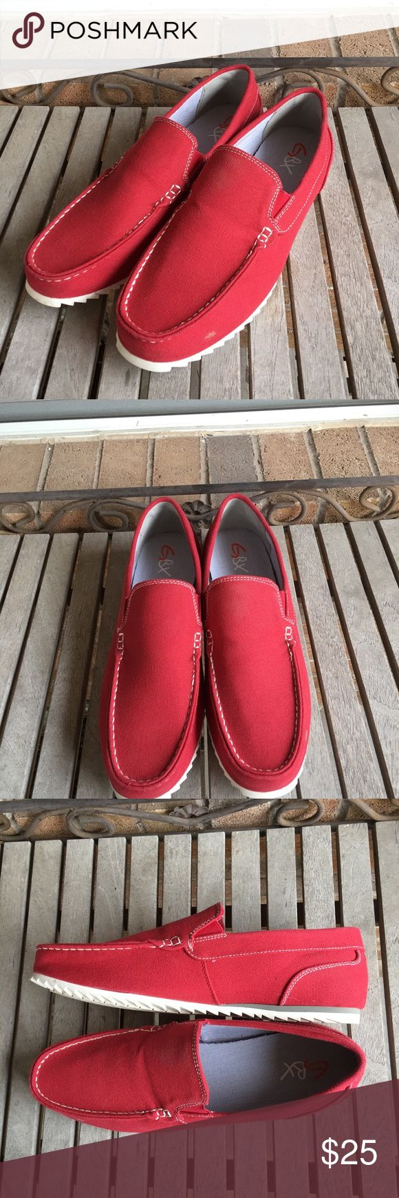Men's GBX Harpoon Moc Toe Red Canvas Loafers Men's GBX Harpoon Moc Toe Red Canvas Slip On Loafer. Great condition! Very comfy. Great for the spring and summer. Canvas uppers, rubber soles. Boat shoes, deck shoes, flats, slide on. GBX Shoes Loafers & Slip-Ons