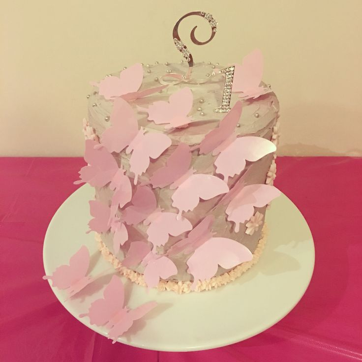 Butterfly themed birthday cake made for my little butterfly princess' 1st birthday xxx