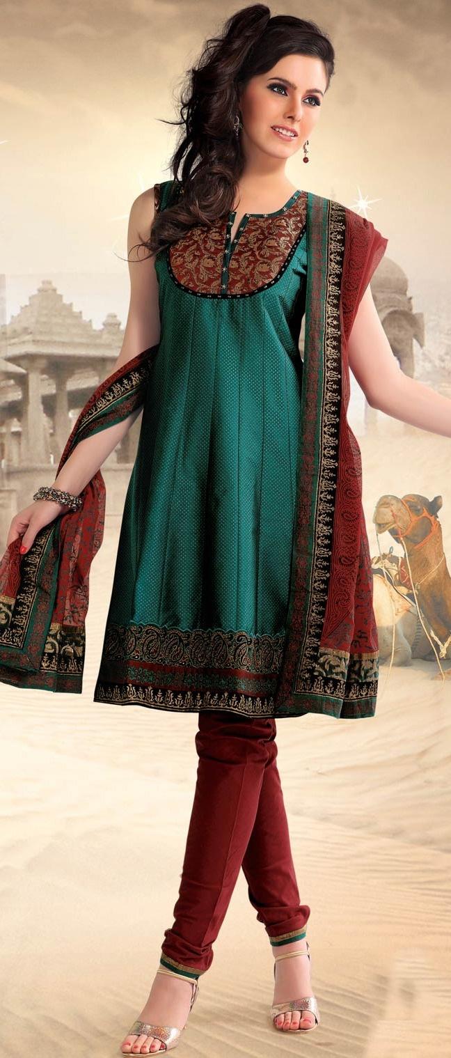 #Green Poly #Cotton #Readymade Churidar Kameez @ $88.00