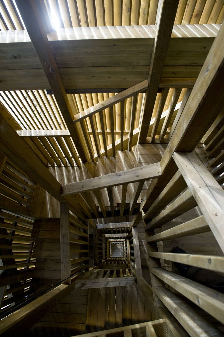 Seljord Watch Tower by Rintala Eggertsson Architects: Spirals Stairca, Stairs, Lookout Points, Rintala Eggertsson, Wood Design, Eggertsson Architects, Rintalaeggertsson, Seljord Lookout, Watches Towers