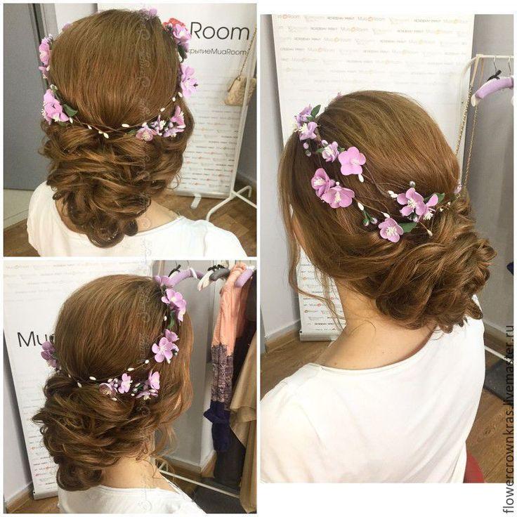 Купить Двойной цветочный венок / Double wedding flower фиолетовое украшение фиолетовый венок фиолетовй цвет crown - венок из цветов