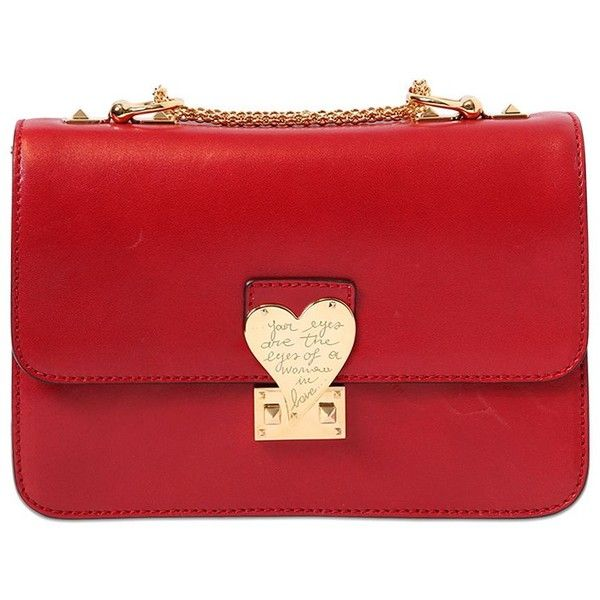VALENTINO L'amour Polished Leather Shoulder Bag found on Polyvore