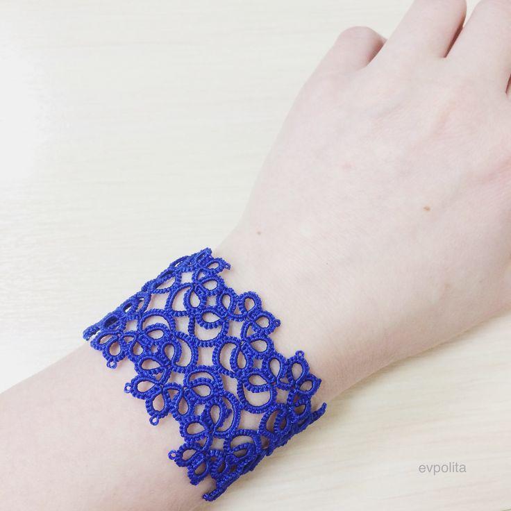 Широкий синий кружевной браслет фииволите