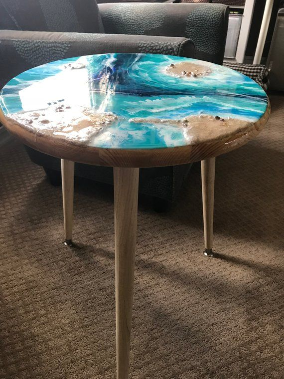 Resin Pour Painted Table Top With Natural Wood Legs Etsy Resin Furniture Painting Wood Furniture Resin Table Top