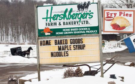 Hershberger-Farm-and-Bakery, just outside Berlin, Ohio on State Route 557. Fresh produce, petting farm, bakery, canned goods, roll butter, and more