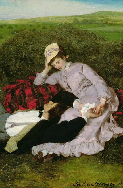 The Lovers, 1870 (oil on canvas) by Pal Szinyei Merse (1845-1920)