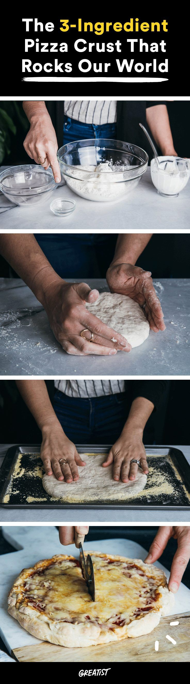 Ain't no party like a pizza party. #greatist https://greatist.com/eat/pizza-crust-recipe-with-3-ingredients