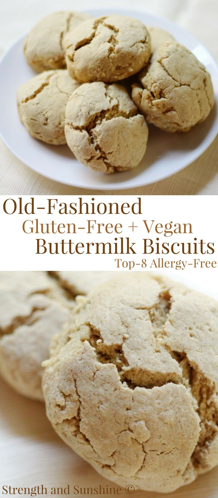 Old-Fashioned Gluten-Free + Vegan Buttermilk Biscuits (Allergy-Free) | Strength and Sunshine @RebeccaGF666 The best authentic Old-Fashioned Gluten-Free & Vegan Buttermilk Biscuits just like your Southern grandmother used to make! Soft, tender, flaky, and begging to be slathered with dairy-free butter, jam, or covered in gravy. This recipe is top-8 allergy-free and only 6 ingredients; in 12 minutes you'll have warm pull-apart buns ready on the table! #buttermilkbiscuits #biscuits #glutenfree