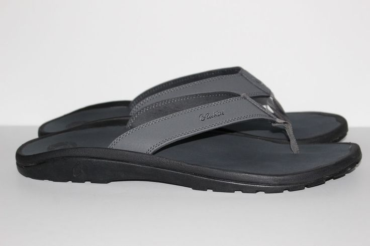 "OLUKAI SANDALS ""OHANA"" FLIP FLOP MENS SIZE 14 GRAY ~LEATHER~ MUST SEE!! #Olukai #FlipFlops"