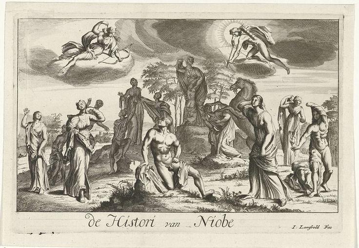 Jan Lamsvelt   Apollo en Diana straffen Niobe voor haar hoogmoed, Jan Lamsvelt, 1684 - 1743   Niobe spreekt vanaf een verhoging een groep vrouwen toe, aan haar voeten is een vrouw in aanbidding geknield. Apollo en Diana zijn in de lucht met pijl en boog verschenen om Niobe, die zichzelf beter vond dan deze goddelijke tweeling, te straffen voor haar hoogmoed.