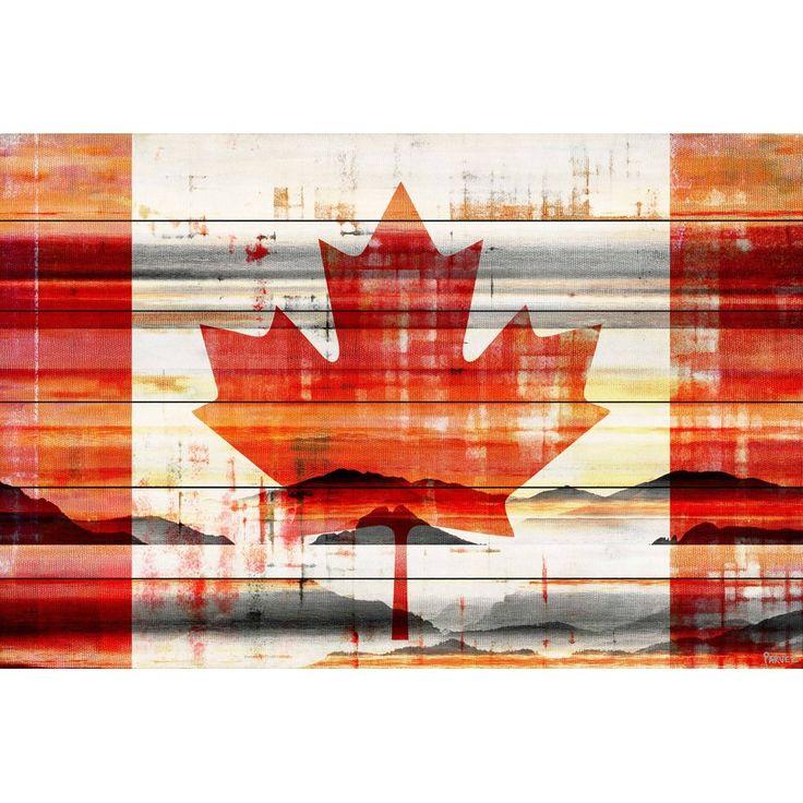 'Canadian Leaf' by Parvez Taj Painting Print on White Wood