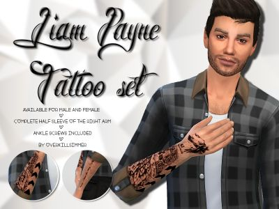 Overkill Simmer Liam Payne Tattoo Set