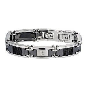 A polished stainless steel bracelet featuring black ceramic interlinks and mesh detailing. With a chic combination of Italian and French influences, Cerruti creates stylish fashion pieces with sharp, simple designs. A statement piece for the modern man.