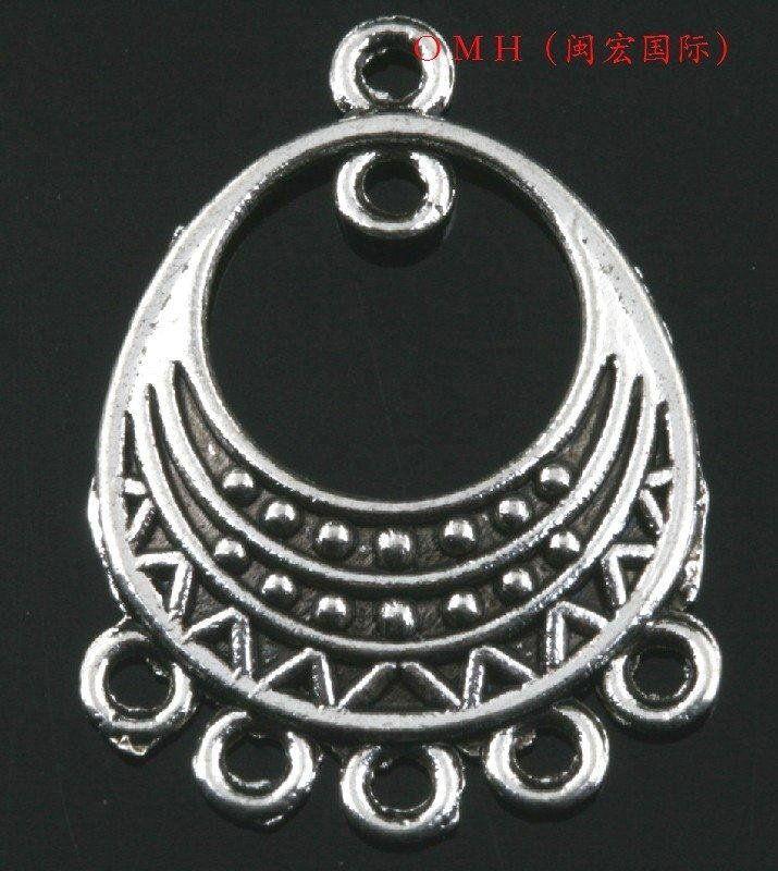 OMH ОПТОВОЙ EH324 ювелирные изделия Бесплатная доставка 8 шт. тибетские серебряные кулоны серьги разъемы Серьги 30x21.5 мм
