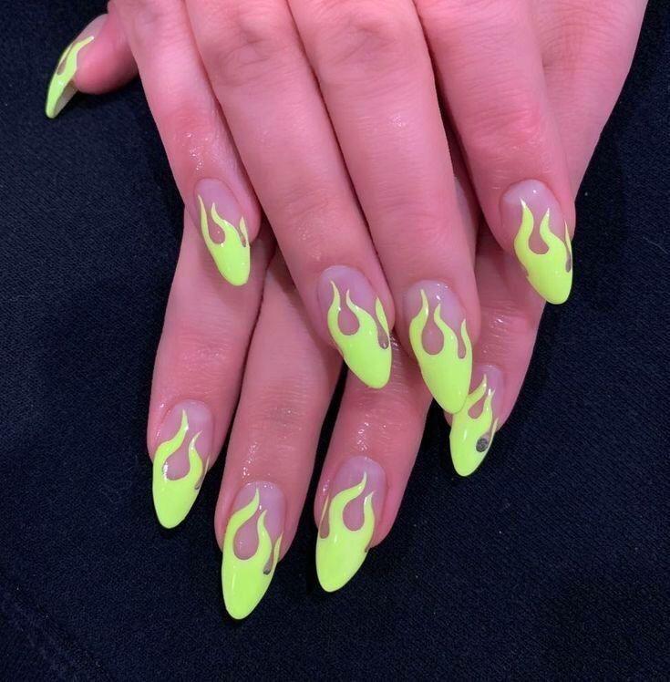 Over 50 Bright Summer Nail Art Designs That Will Be So Trendy All Season Ecemella Flame Nail Art Green Nail Art Neon Green Nails