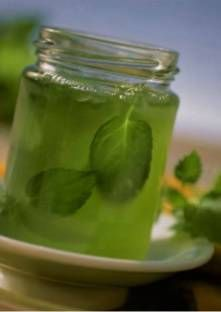 GELEE DE MENTHE (feuille de menthe fraîche, cidre, jus de citron, liqueur de menthe, sucre gélifiant)