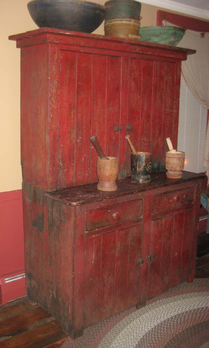 Antique Stepback Cupboard | ... Email me for more information on this great  red - 356 Best Colonial And Primitive Cupboards/Hutches Images On