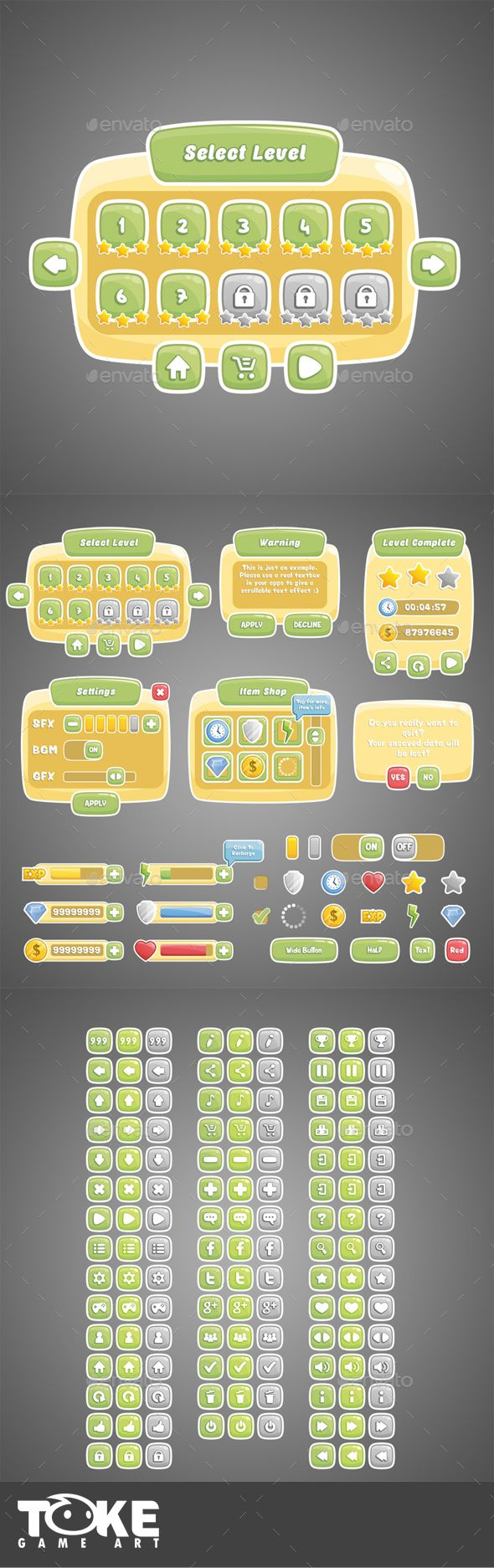 Classic Themed Game UI Template Transparent PNG, Layered PNG, Vector EPS, AI Illustrator #gui