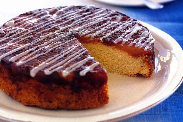 Caramelised apple tea cake with cinnamon icing