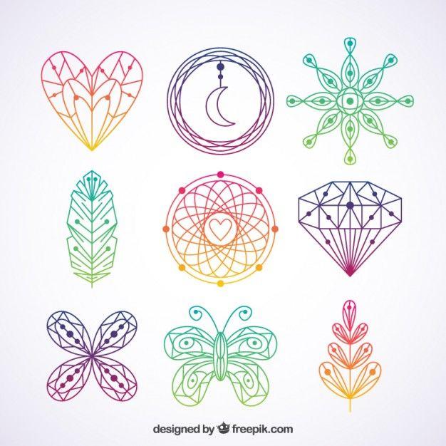 Elementos boho coloridos dibujados a mano Vector Gratis
