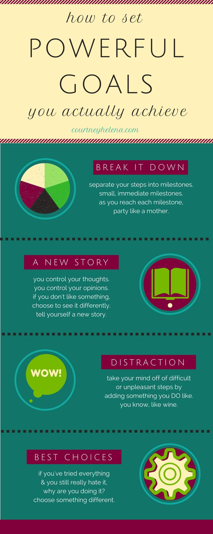 Infographic - Give these four fab, science-based tricks a try for greater success with long-term goal setting. ~ Courtney Helena, Blogging Coach.