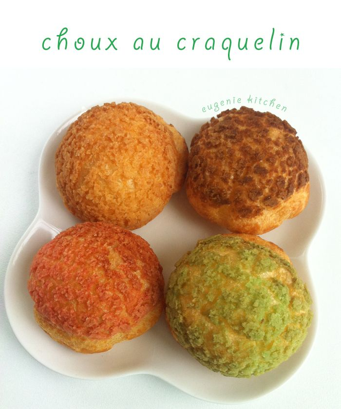 Choux au Craquelin - French Crunchy Cream Puff Recipe - Eugenie Kitchen