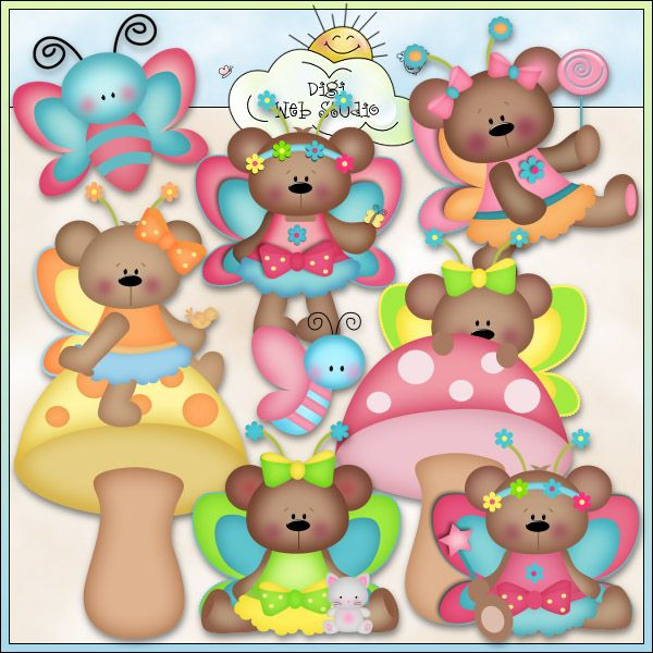 Fairy Bears 1 - NE Kristi W. Designs Clip Art : Digi Web Studio, Clip Art…