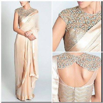 Saree Designer Sari Blouse Indowestern Cocktail Partywear Indian Bridal Elegant