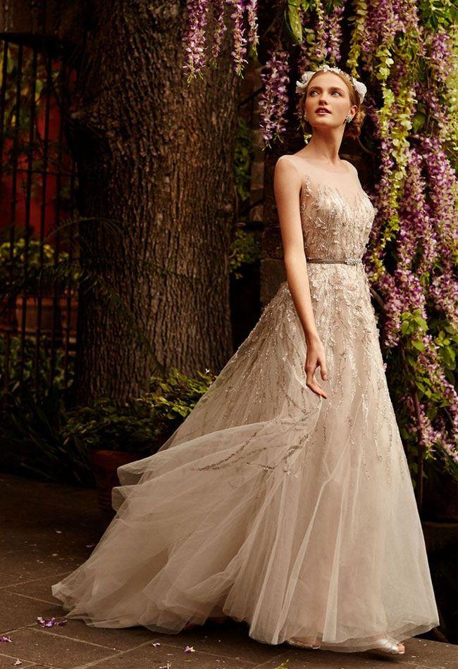 romantic   flowy BHLDN wedding dress