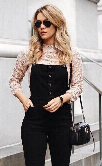 #winter #fashion /  Pink Lace Top + Black Playsuit