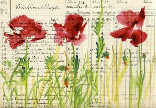 Journal pageOld Book Pages, Red Poppies, People Art, Art Journals, Backgrounds, Journals Pages, Watercolors Cards, Watercolors Flower, Journals Art