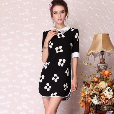 Western Elegant Printed Slim Dresses For Women Black White