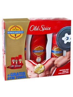 OLD SPICE Zestaw Champion + Ręcznik na siłownię:  • zapach dla zwycięzców • natychmiastowe odświeżenie • pełna ochrona przed potem • miękki ręcznik w prezencie