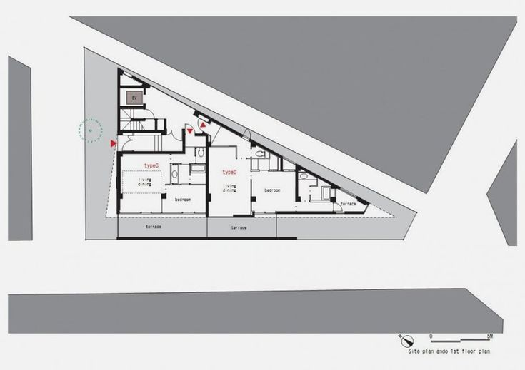first floor plan of Modern and Thin Triangular Building in Wedge Site