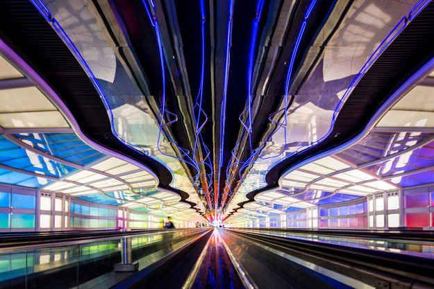 Underground Walkway (O'Hare) | 15 Chicago Landmarks That Light Up The Night