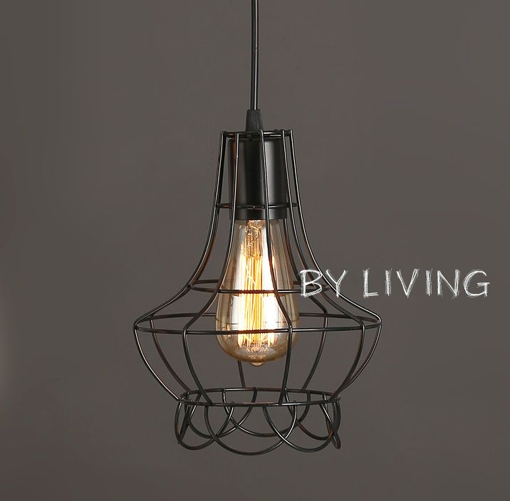 industrial vintage retro black metal cage hanging ceiling bar cafe pendant light in Home & Garden, Lighting, Fans, Pendant Lighting | eBay!