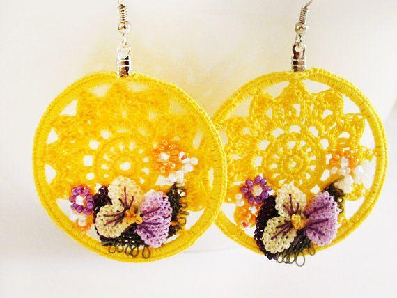 Yellow Crochet Hoop Earrings Floral Rope by GlassHouseLampwork