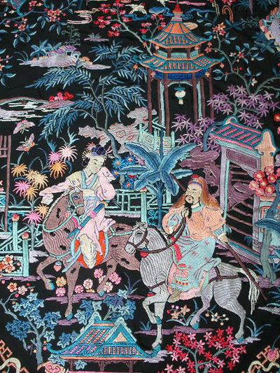 fabulous embroidered antique Canton piano shawl with figures & horses