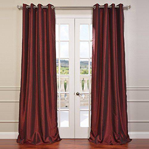 Half Price Drapes PDCH-KBS5-108-GRBO Grommet Blackout Vintage Textured Faux Dupioni Silk Curtain, Ruby