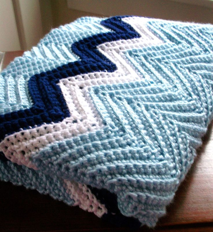 Crochet Chevron Blanket Afghan in Blue, Navy and White Zig Zag FREE SHIPPING by Fiddle Dee Dee Crochet!