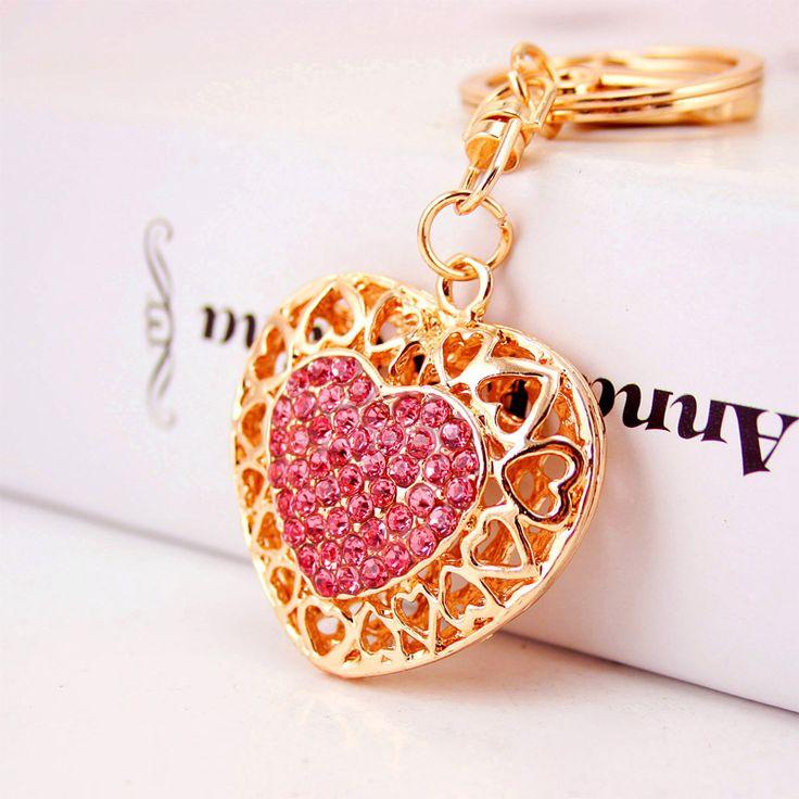 Dalaful Évider Amour Coeur Porte-clés Porte-Bagues Pour Les Amoureux Amoureux Pendentif Pour Voiture Strass Porte-clés Porte-clés K290