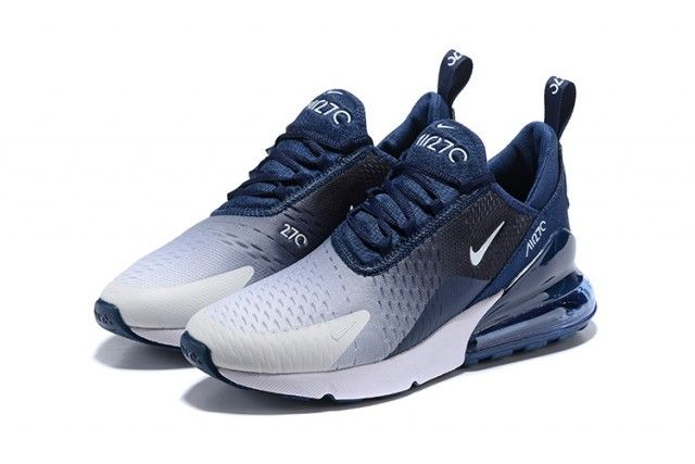 Nike Air Max 270 Flyknit Spectrum Navy Blue White Men S Casual Shoes Navy Blue Nike Shoes Mens Nike Shoes Nike Shoes Women