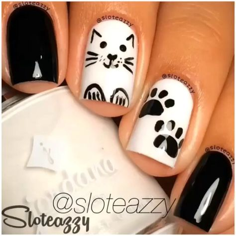 26 best pet nail designs images on pinterest animal nail art black and white nail art designs perfect match for any parties prinsesfo Image collections