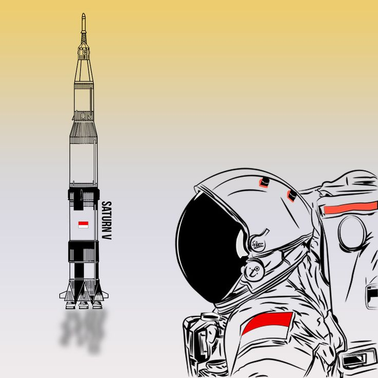 Astronaut with Saturn V Rocket